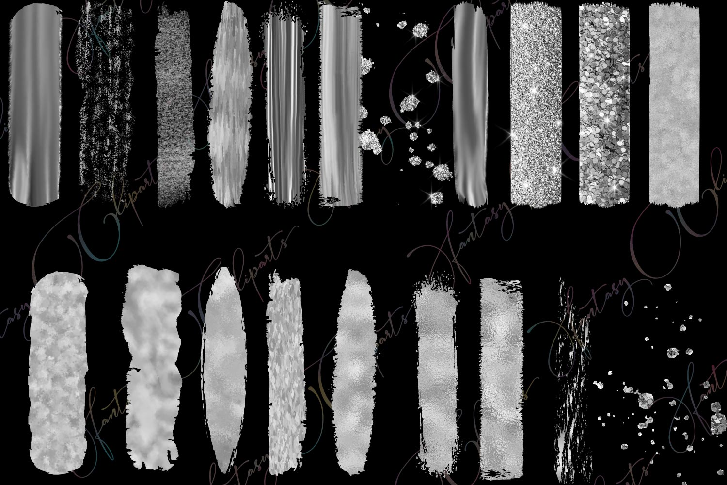Silver Brush Strokes Clipart example image 2