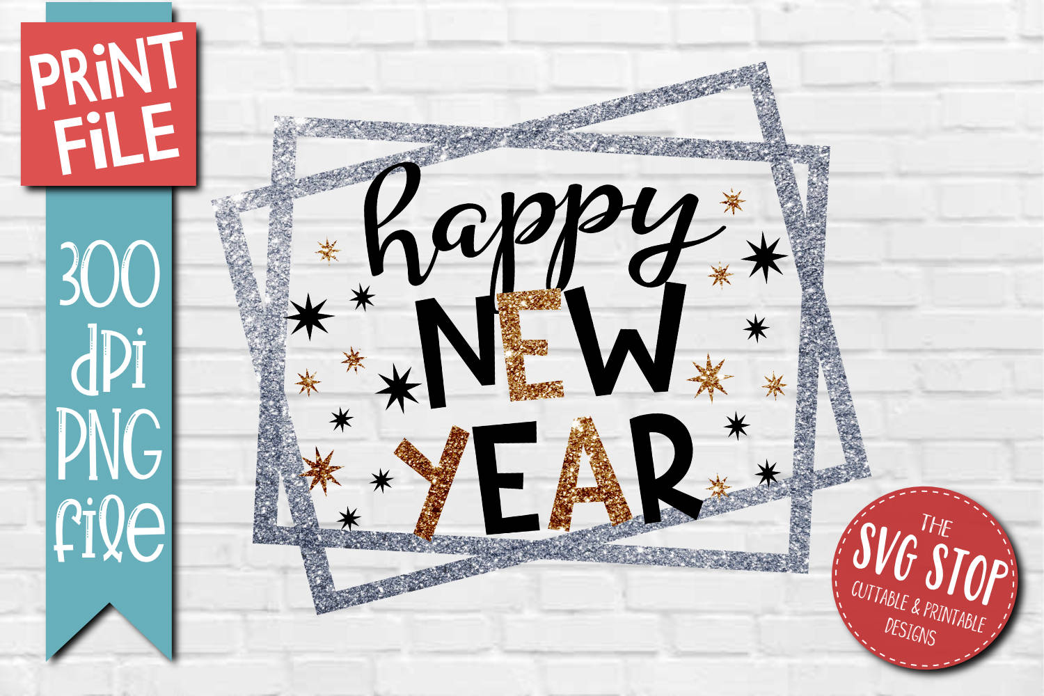 Happy New Year Sublimation Design PNG File example image 1