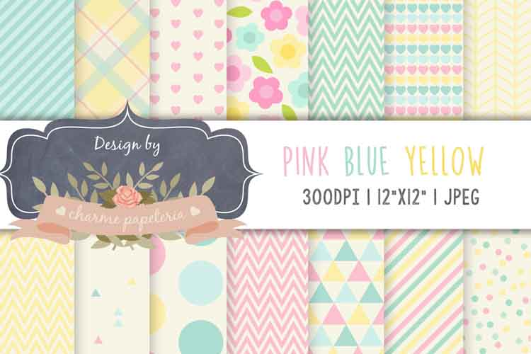 Pastel digital papers, triangles, chevron paper, baby girl example image 1