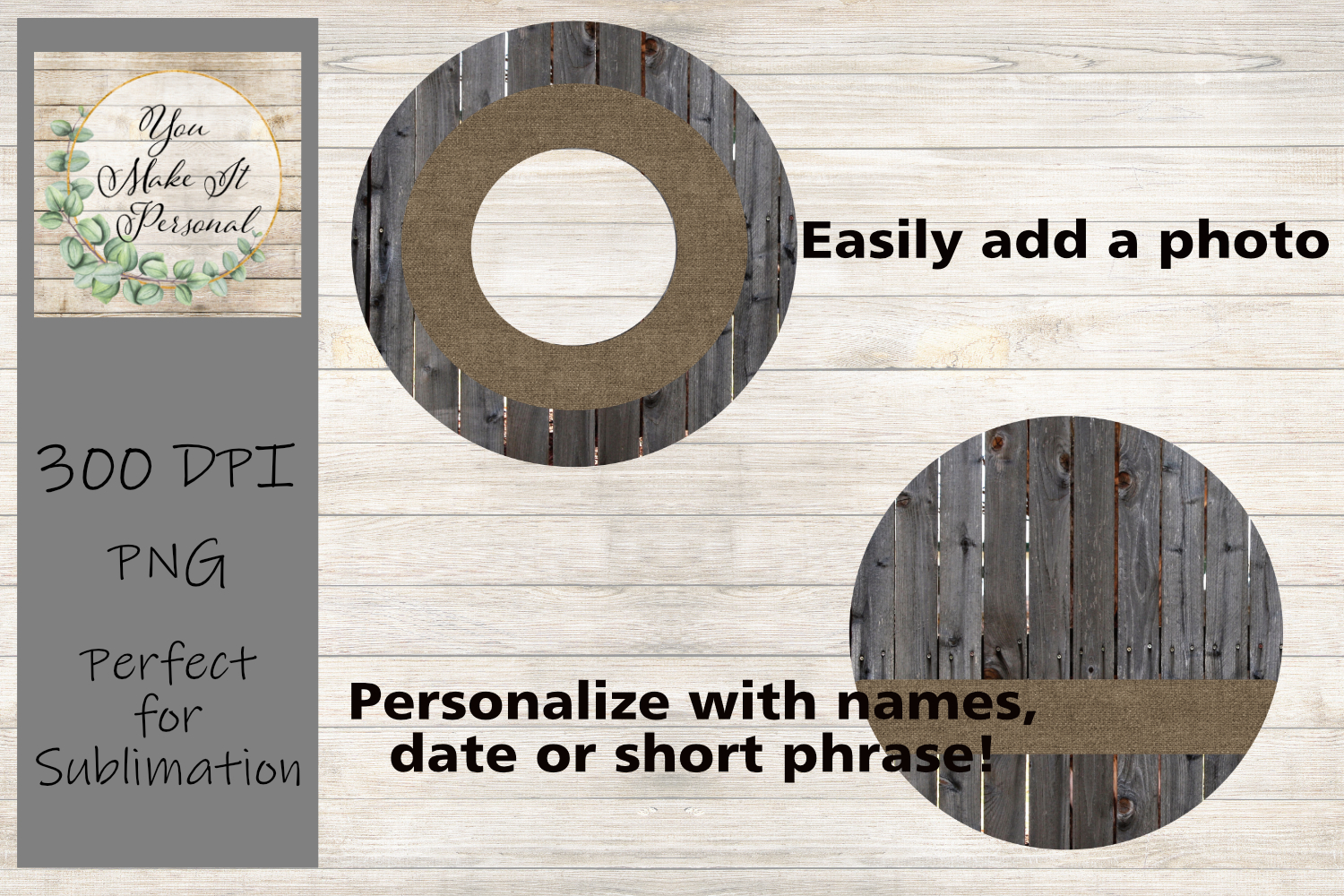 Sublimation Ornament Template - Rustic Wood and Burlap example image 2