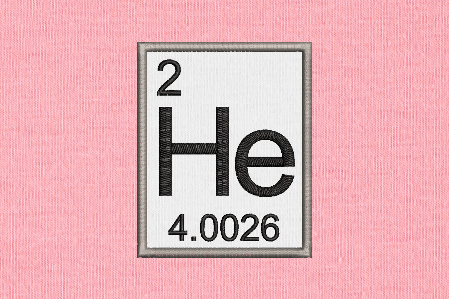 Periodic Table Element 2 He Helium Applique Embroidery example image 1