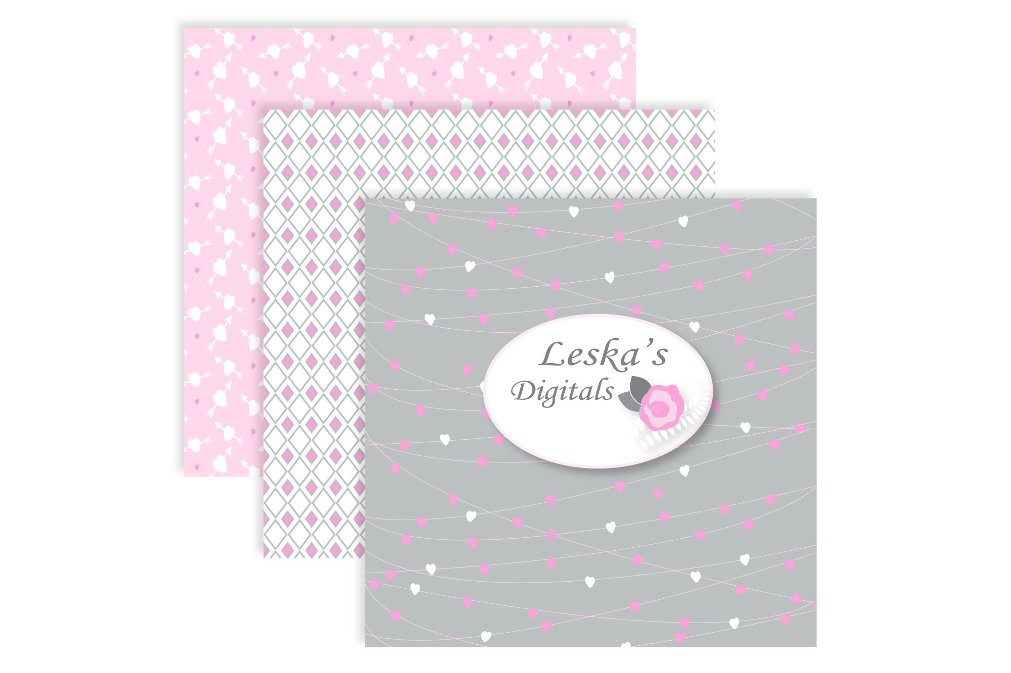 Valentine Digital Paper Printable's - Pink and Grey example image 3