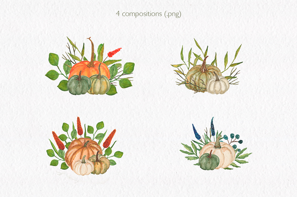 Pumpkin collection. Watercolor clipart. example image 7
