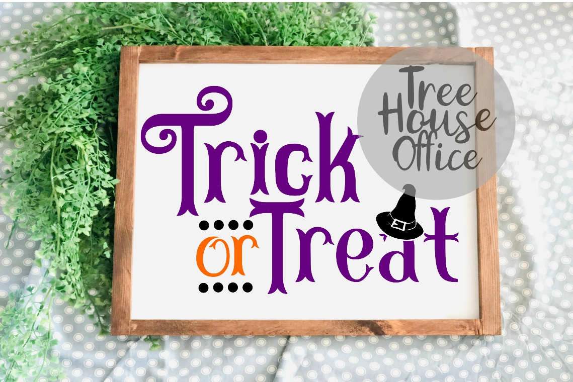Trick or Treat Happy Halloween Witches Hat SVG PNG JPG DXF example image 2