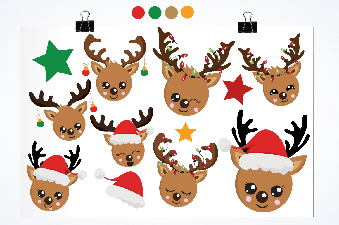 Reindeer faces graphics and illustrations example image 2