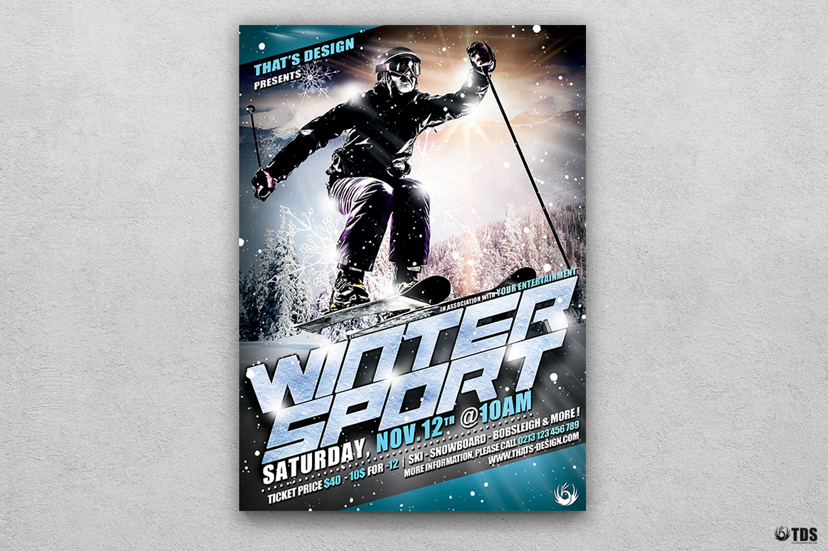 Winter Sports Flyer Template V1 example image 1
