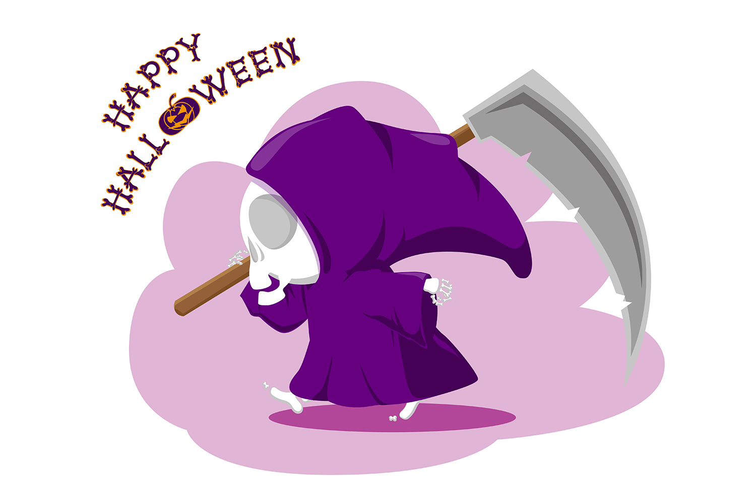Set of 12 figure funny little death with large scythe and halloween pumpkin. Vector illustration example image 8