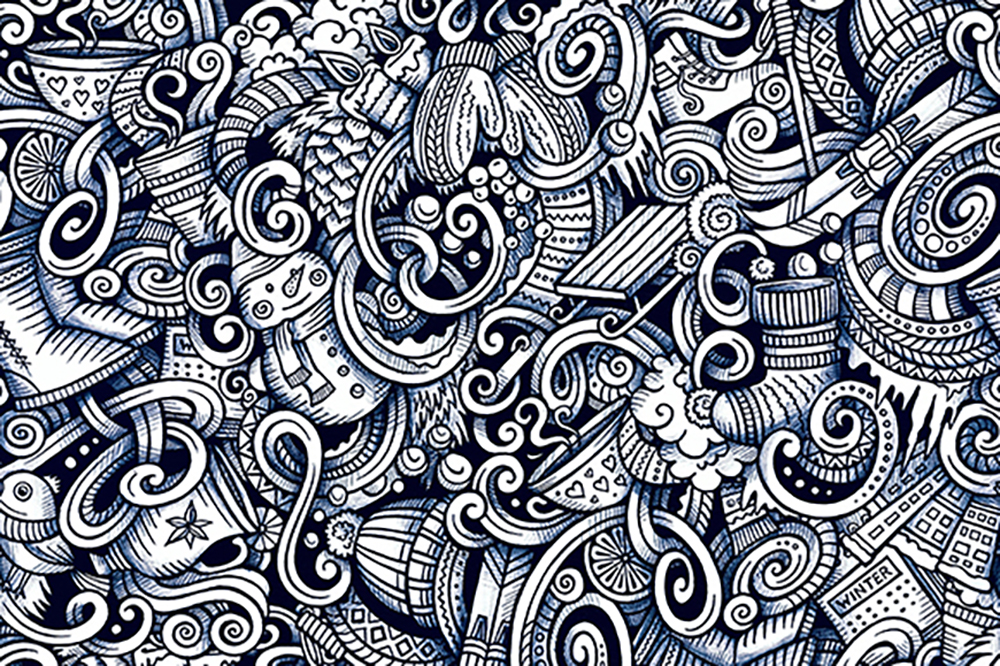 Winter Graphic Doodles Patterns example image 3