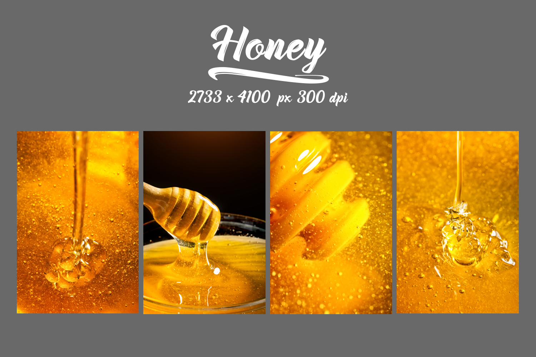 Honey bundle and macro photography texture of honey. example image 13