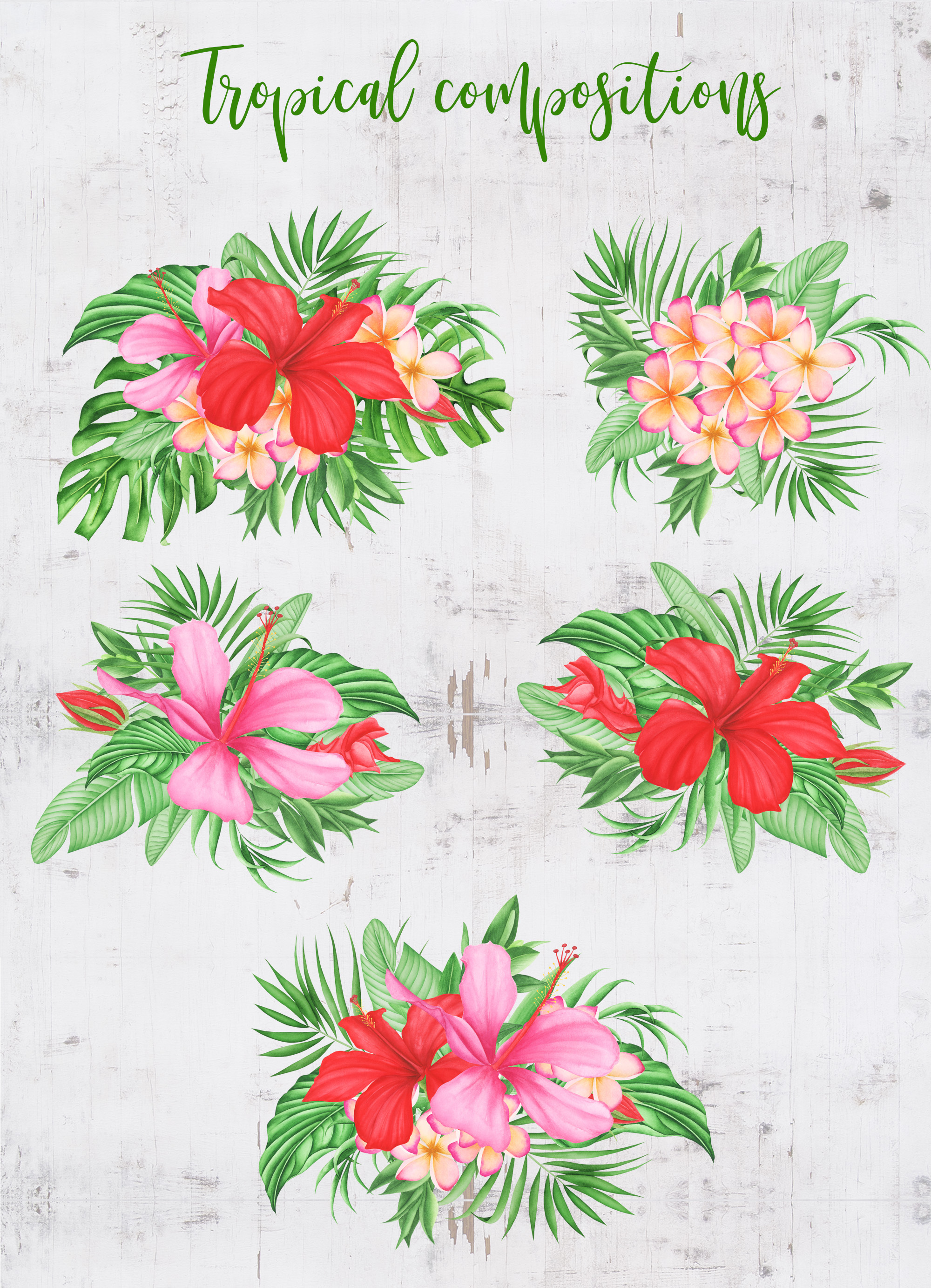 Tropical leaves and flowers clipart example image 4