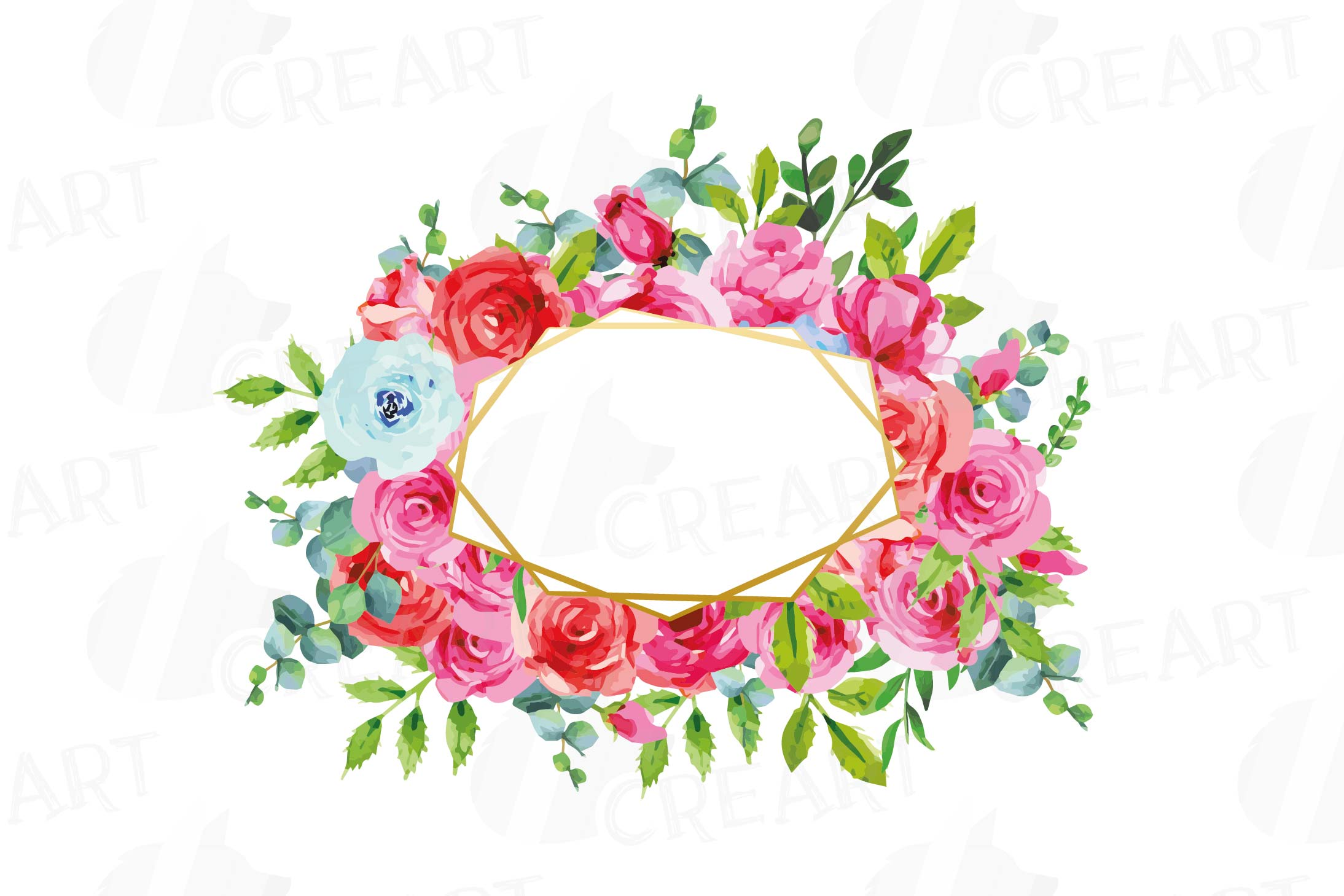 Boho pink and blue floral frames watercolor clip art pack example image 5