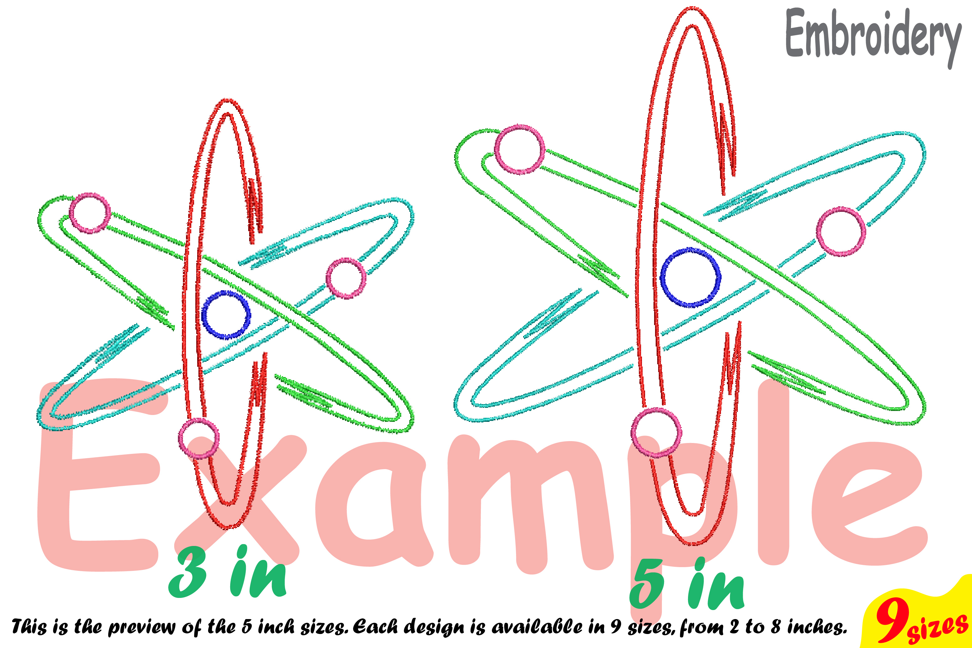 Atom Science - Designs for Embroidery Machine Instant Download Commercial Use digital file hoop symbol sign Nuclear Fission outline 190b example image 4