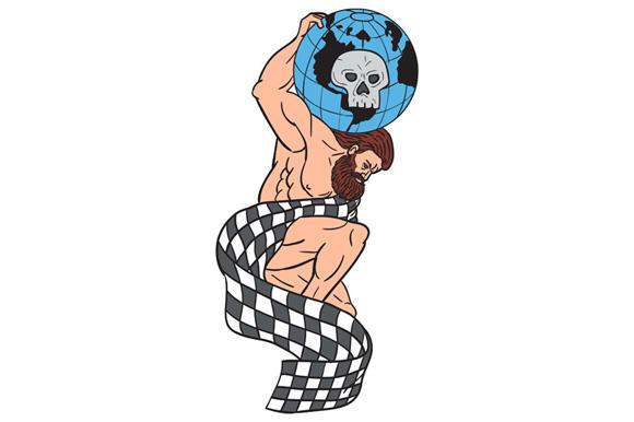 Atlas Lifting Globe Skull Checkered Flag Drawing example image 1