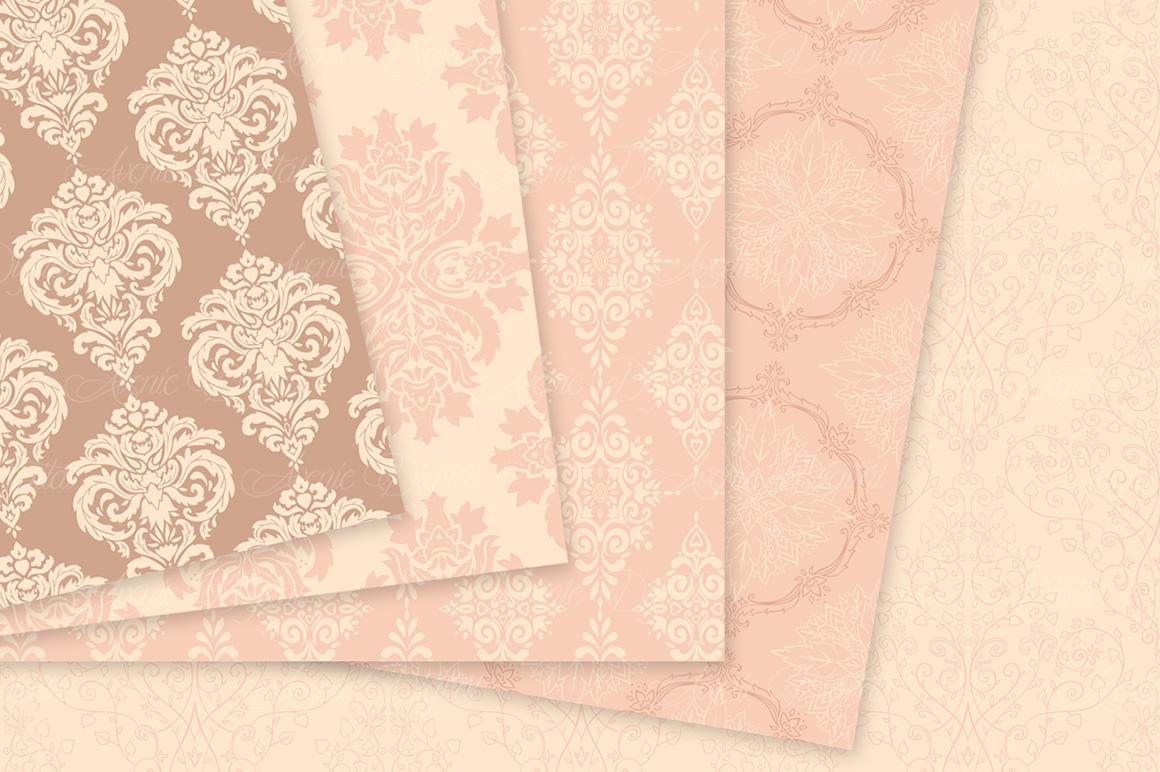 28 Nude Damask Patterns - Wedding Seamless Digital Papers Bundle example image 8