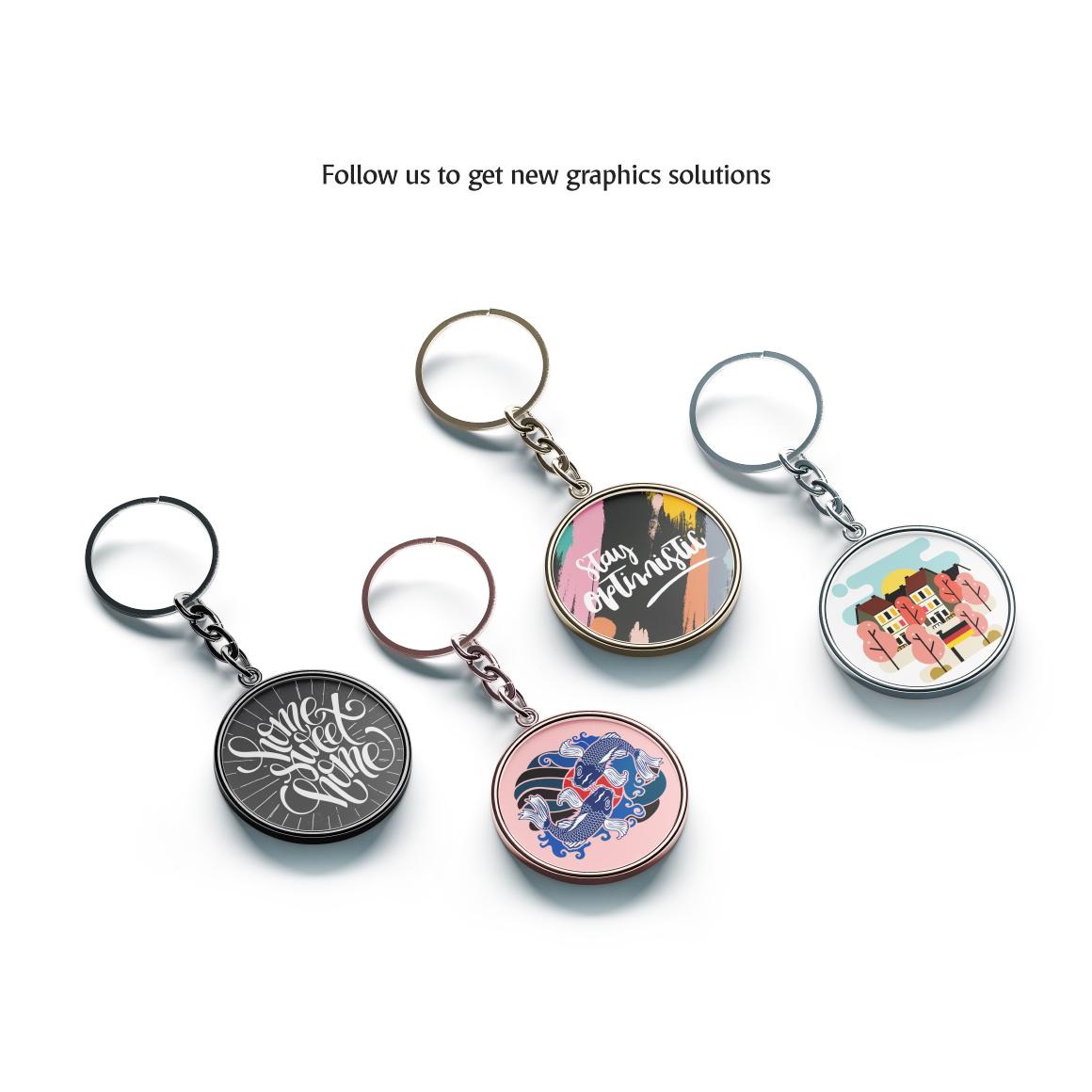Round Keychain Mockup example image 5