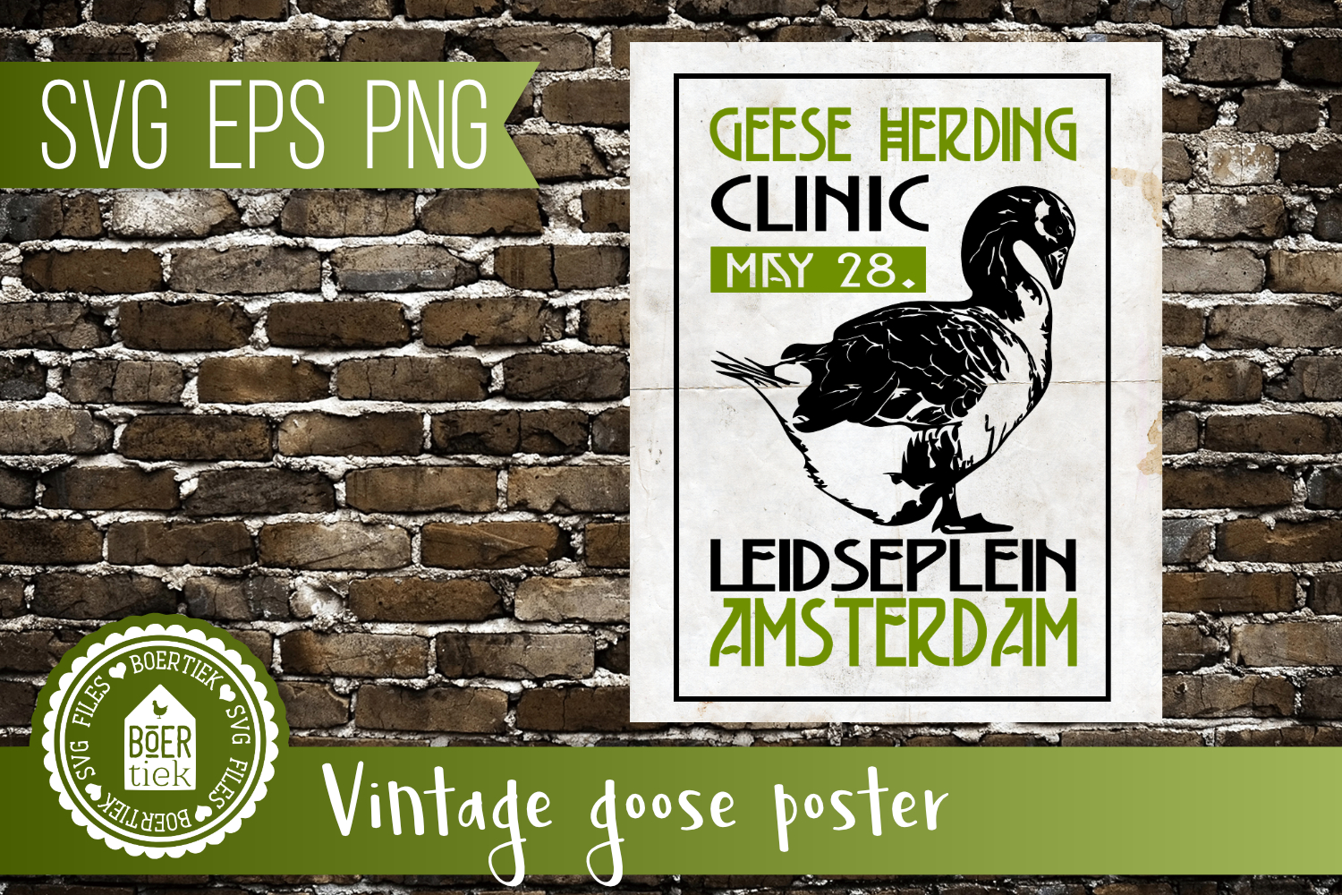 Geese herding clinic, vintage look, SVG file example image 1