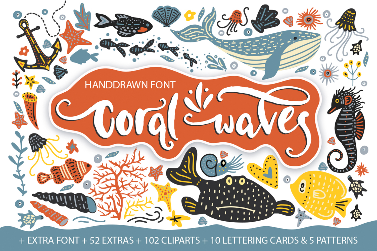 Coral waves. Font and clip arts. example image 1