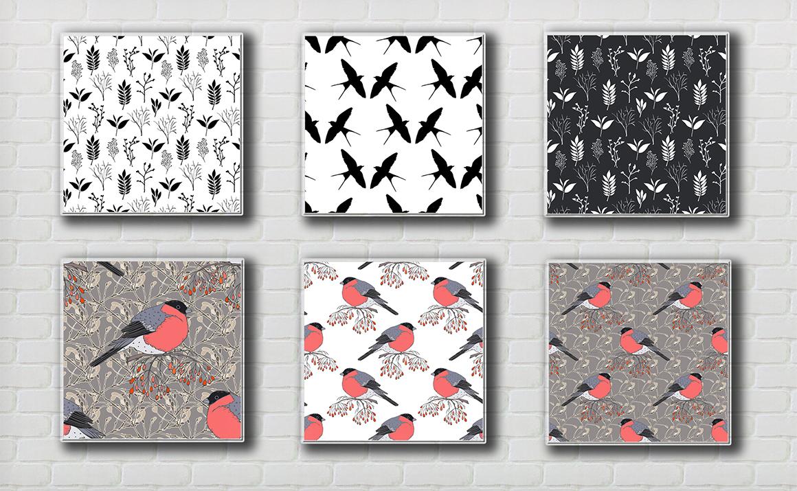 Sketch birds. Vector set. example image 6