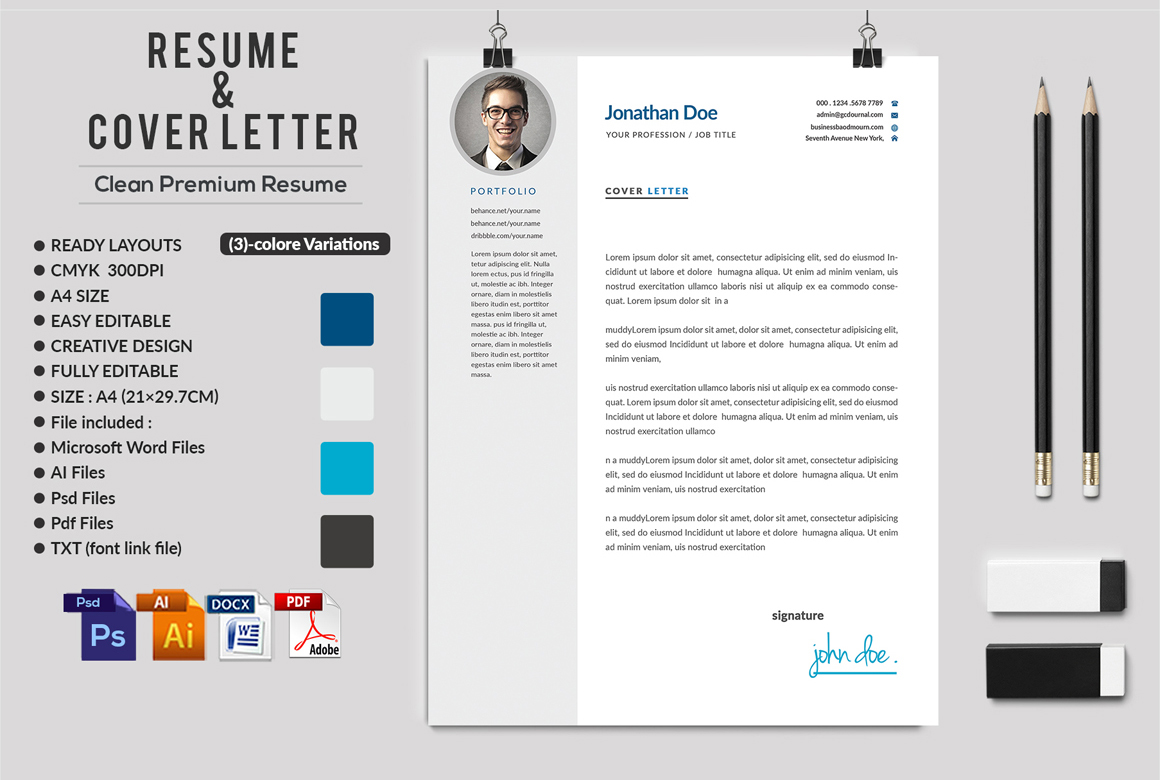 12 Clean Rsume Invoice and Letterhead Bundle example image 8