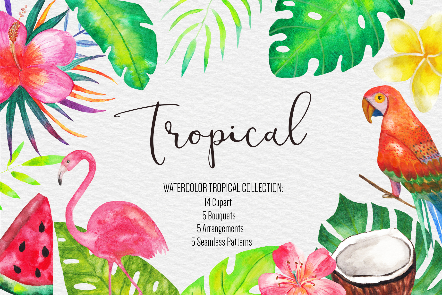 Watercolor Tropical Clipart, Tropical Seamless Patterns example image 1