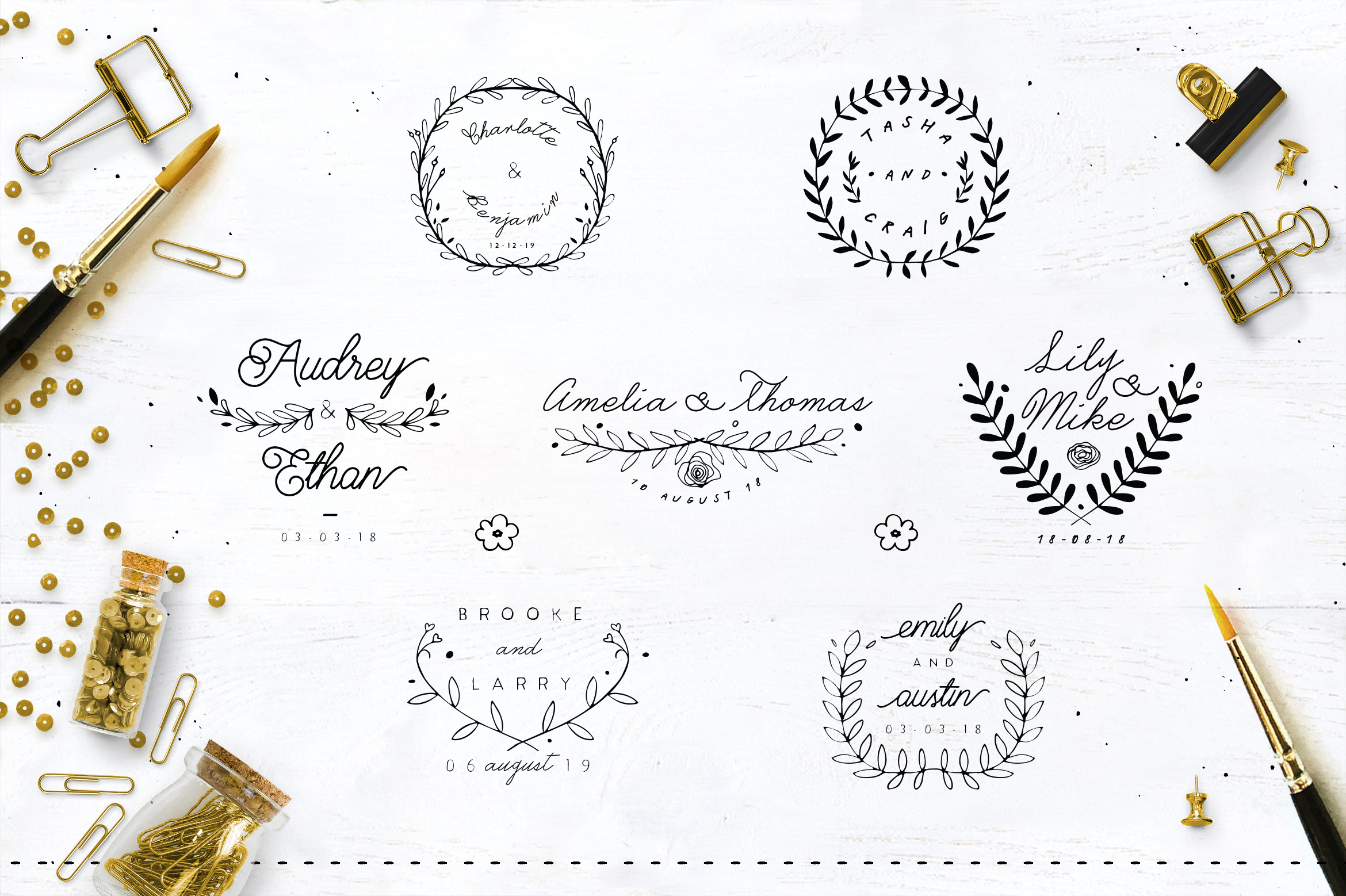 30 Save the Date Wreath Logo example image 5