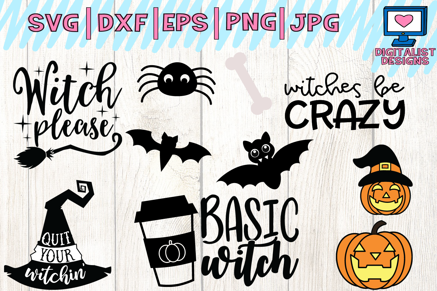 Halloween bundle svg, fall, october, witch, png, dxf example image 4