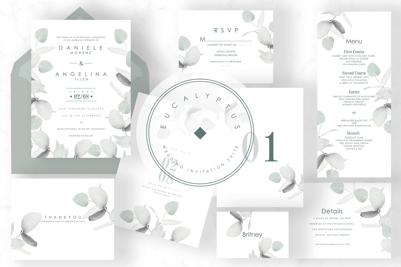 6 IN 1! Eucalyptus Wedding invitations bundle example image 2
