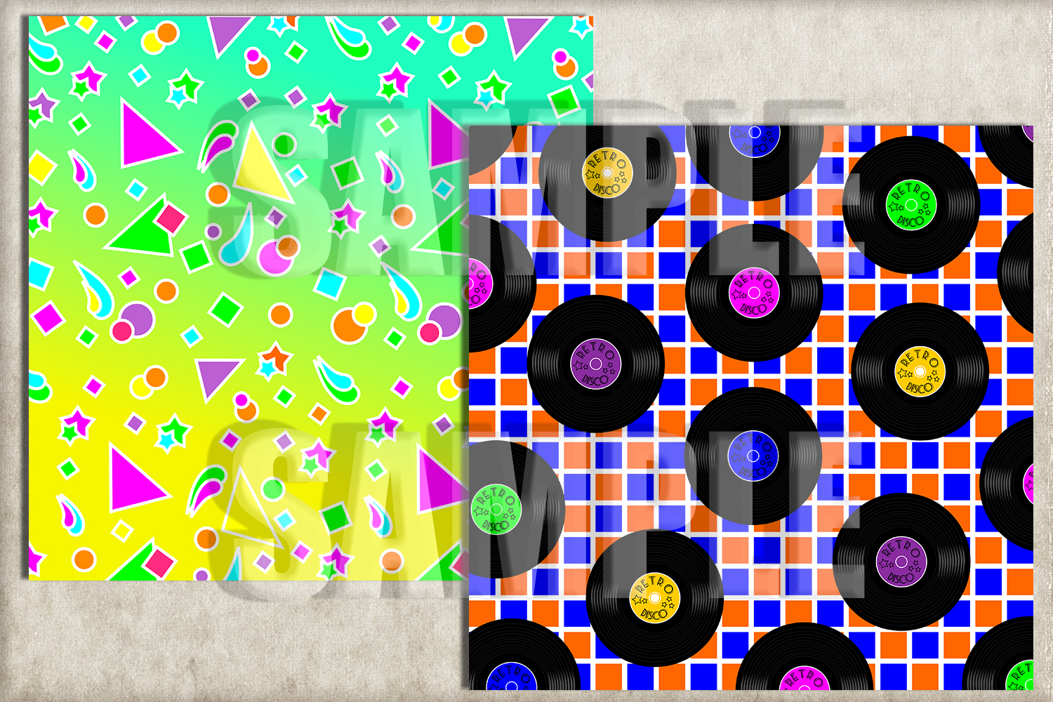 I LOVE 80's Digital Paper, Digital Background example image 3