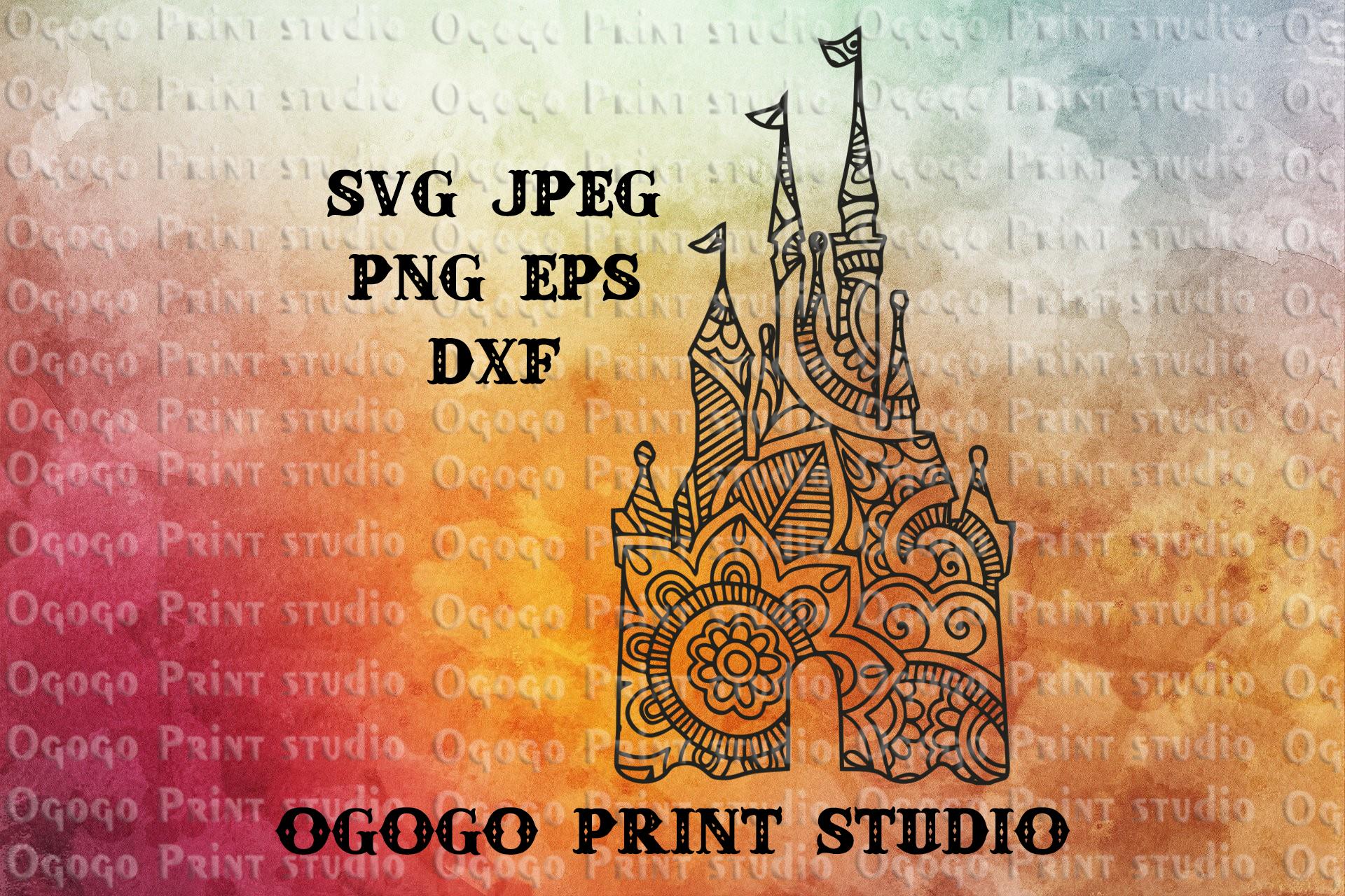 Castle svg, Zentangle SVG, Mandala svg, Cricut cut file example image 1