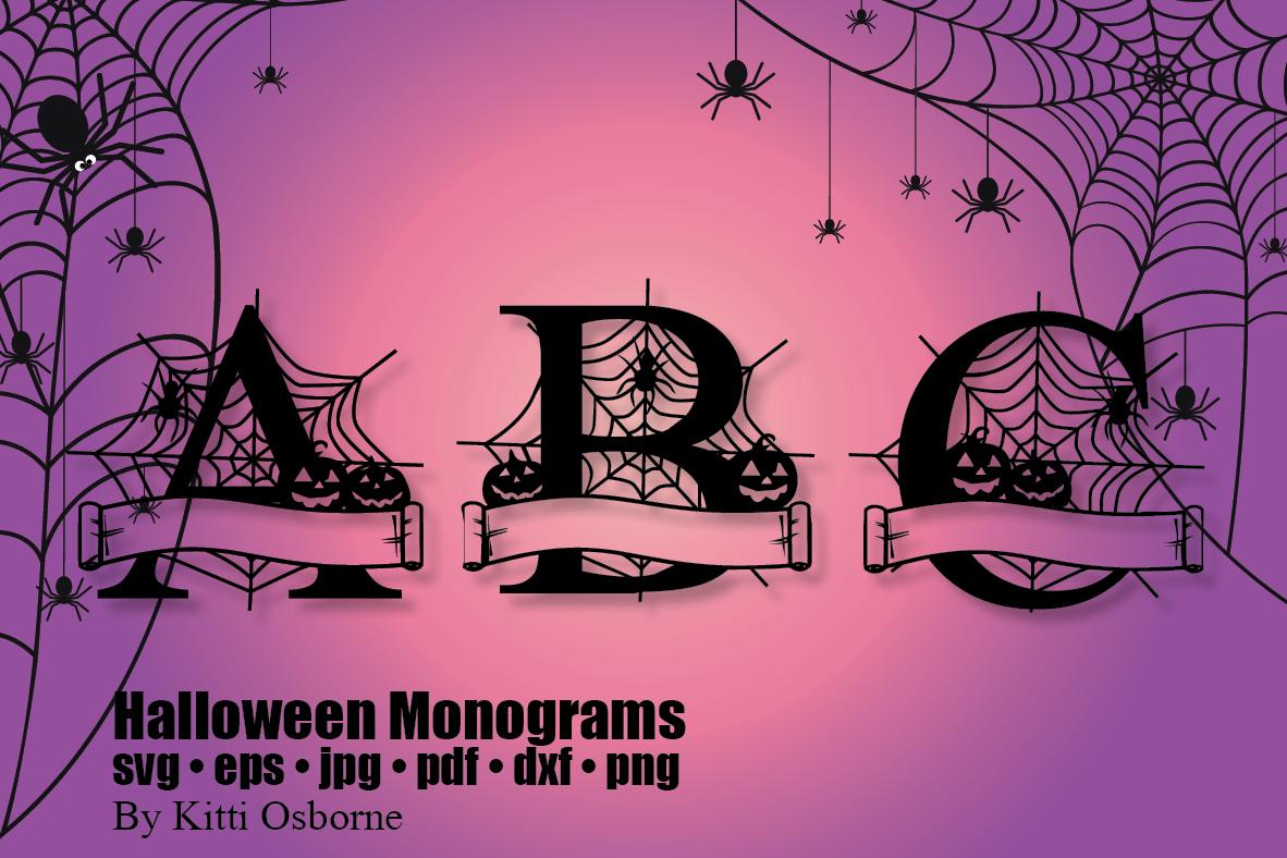 Halloween Split Monograms A-Z example image 4