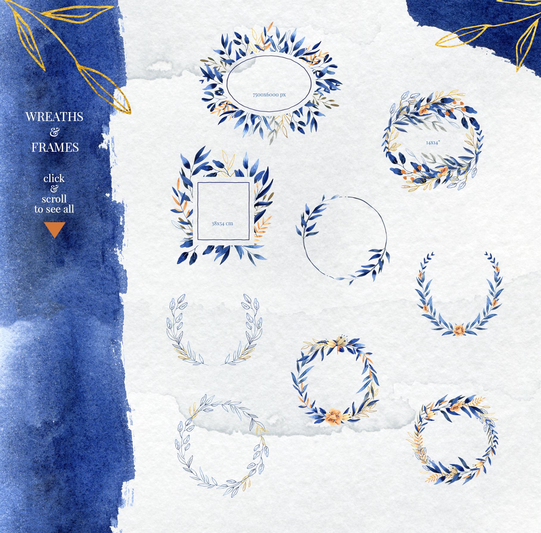 Deep Blue Alphabet Watercolor Design Kit example image 11