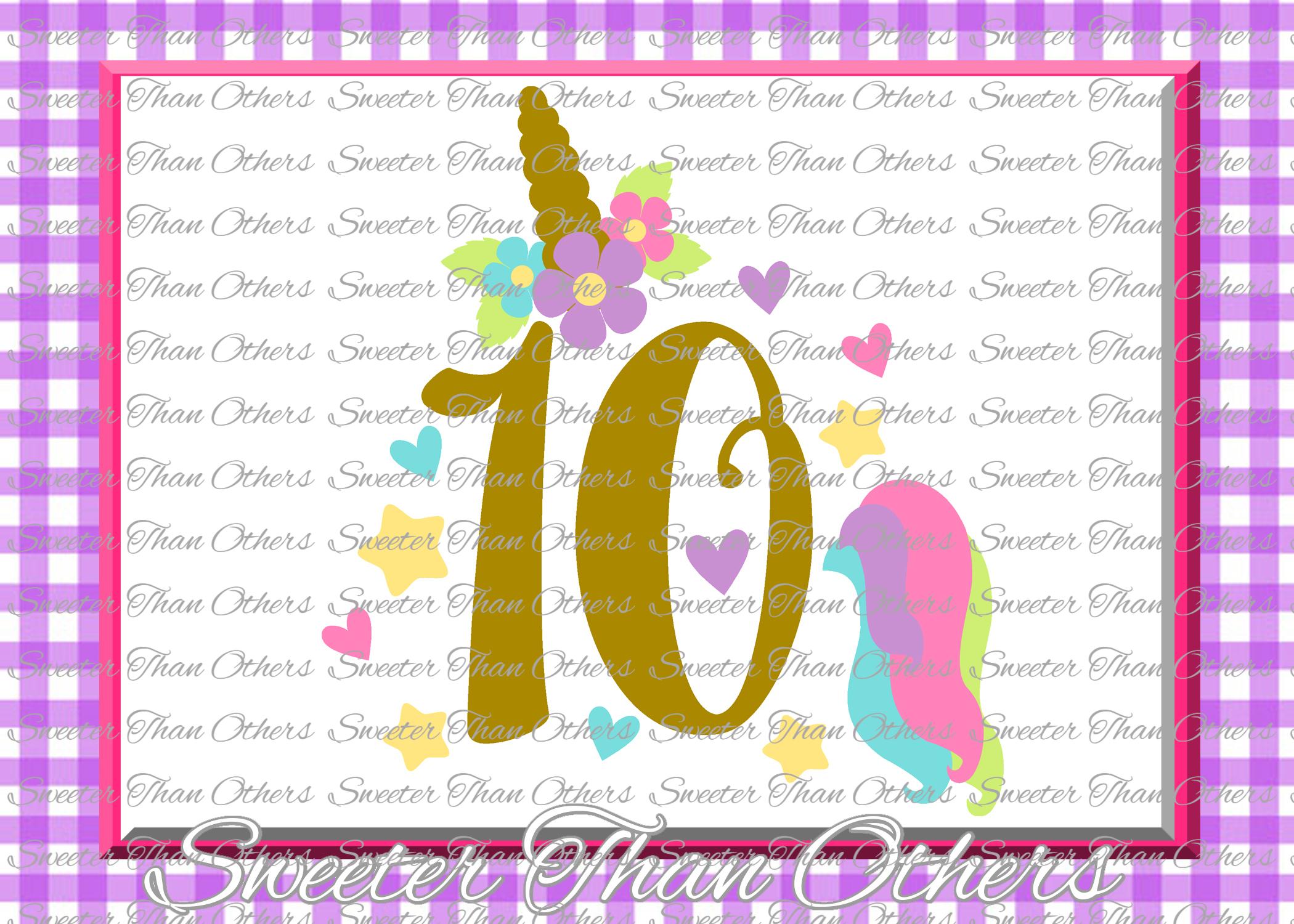 Tenth Birthday SVG, 10th Birthday Unicorn svg example image 1