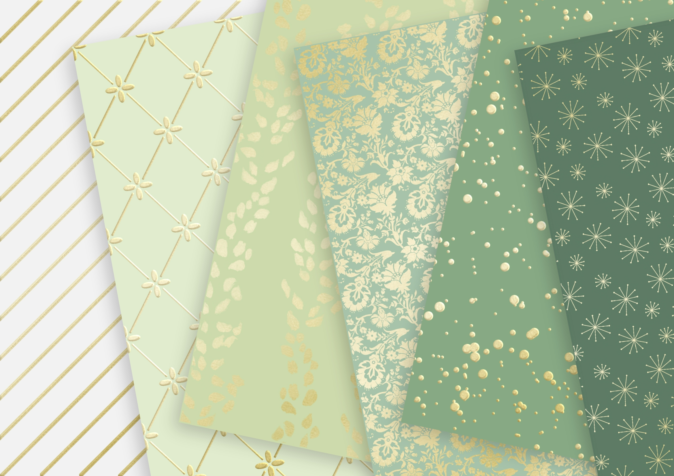 Fern White and Soft Gold Digital Paper example image 3