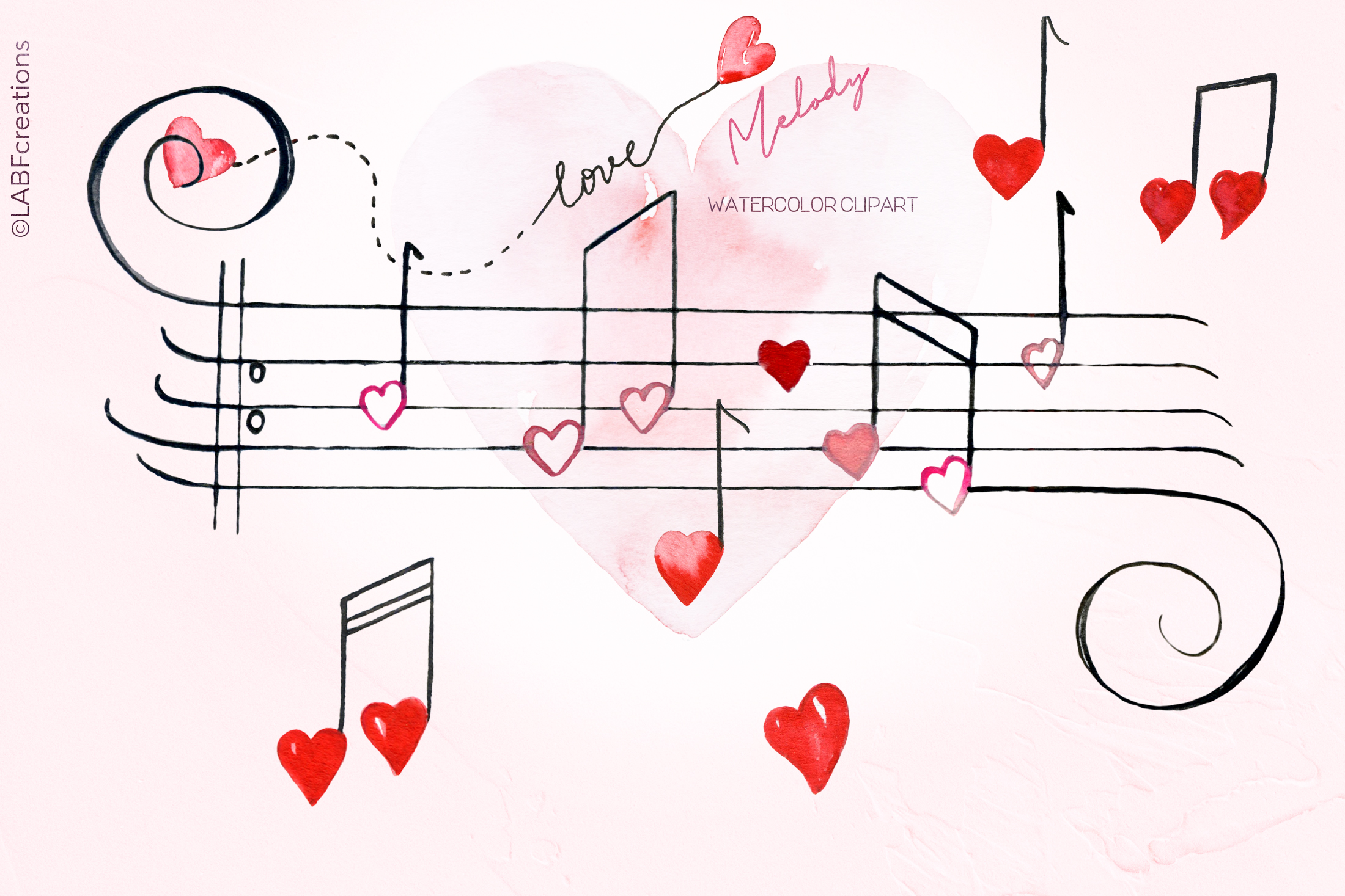 Love melody. Watercolor clipart example image 2