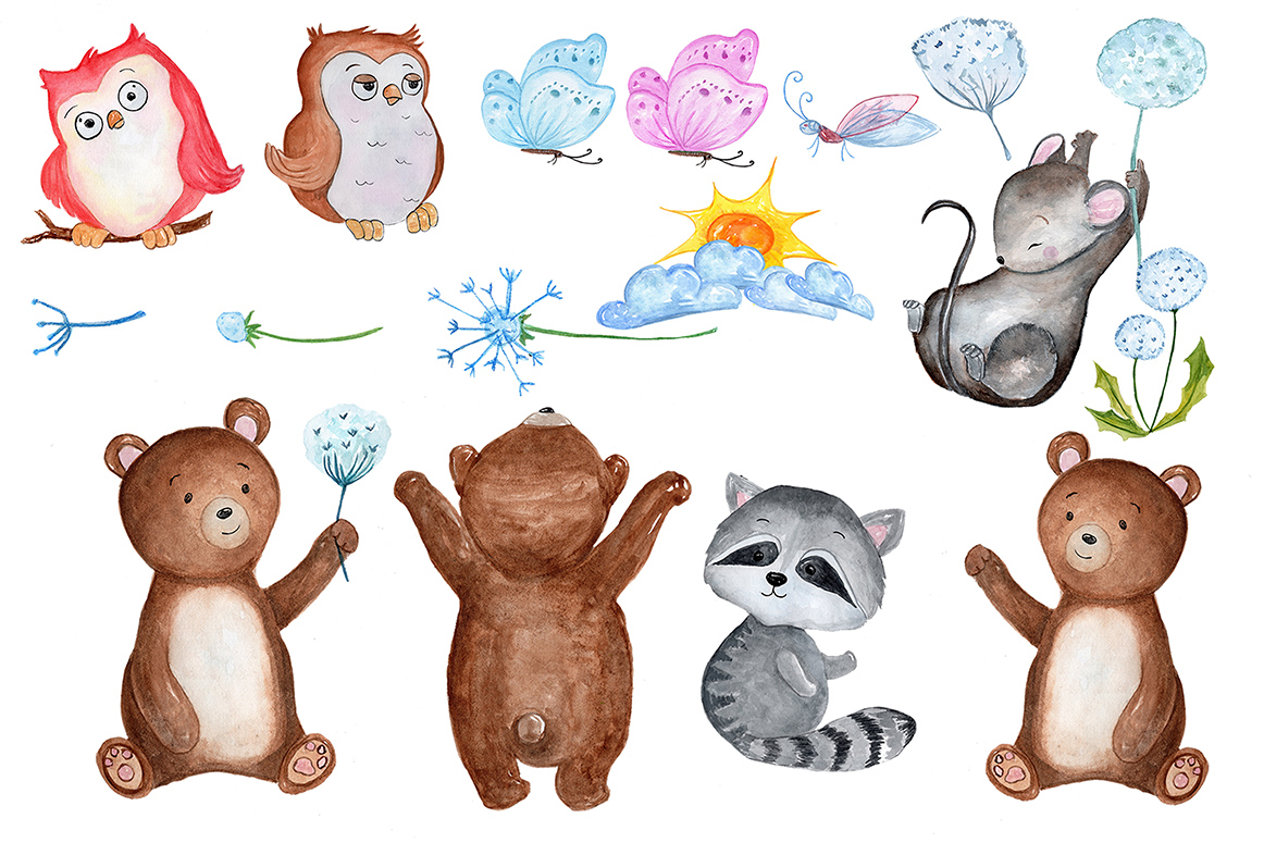 Watercolour forest animals clipart example image 2