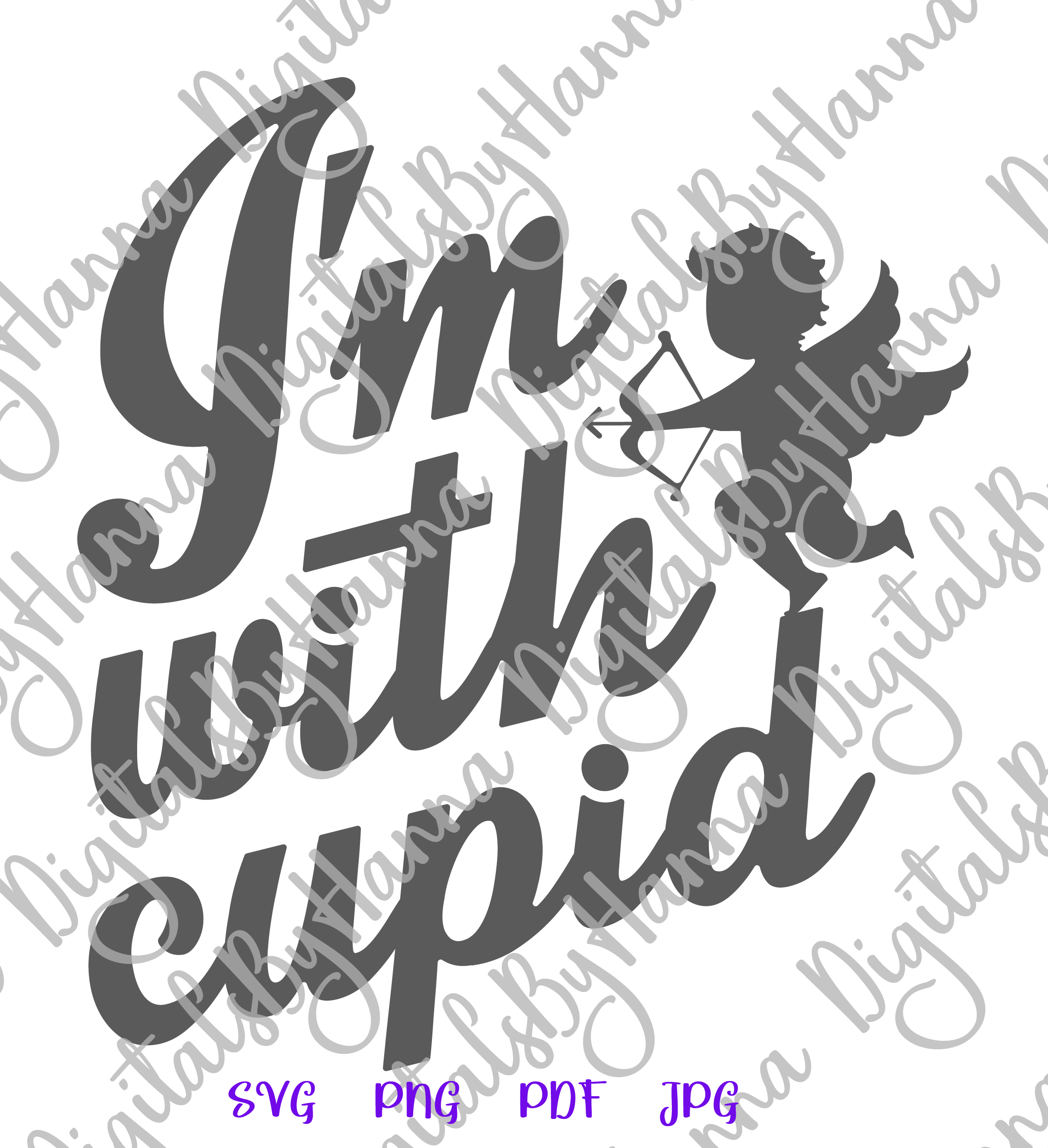 I'm With Cupid Valentine's DayFunny Sign Print & Cut PNG SVG example image 5