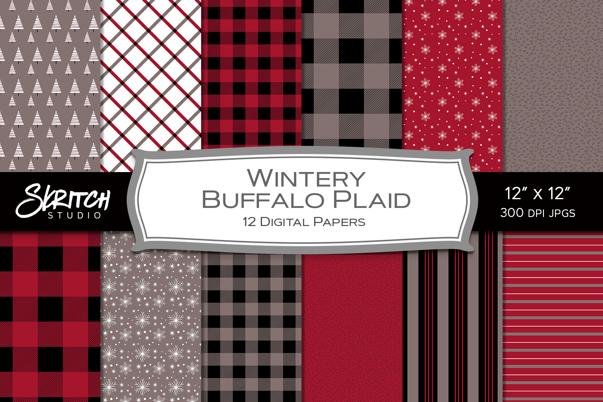Wintery Buffalo Plaid - 12 Digital Papers example image 1