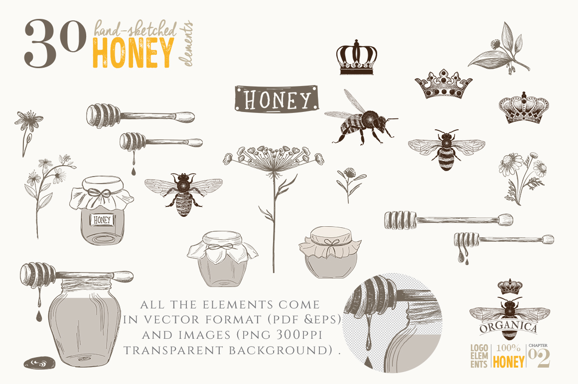 ORGANIC LOGO ELEMENTS  HONEY example image 3