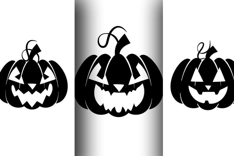 Silhouettes of pumpkins with emotions for Halloween example image 2