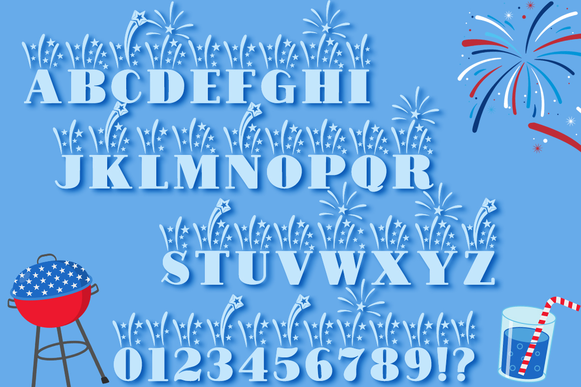 Fireworks Independence Day / 4th of July Font Family & Bonus example image 2