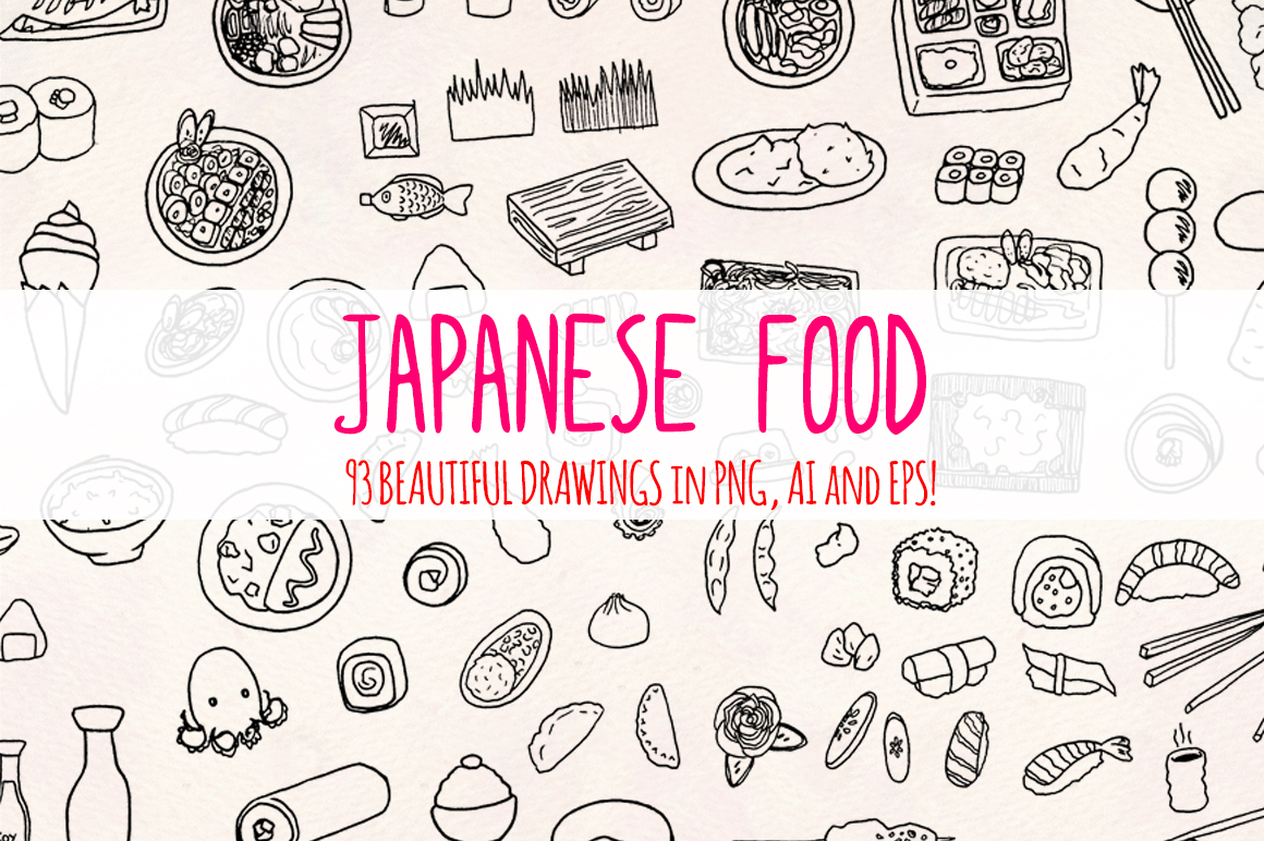 Japanese Food 93 Yummy Restaurant Sketch Graphics example image 1