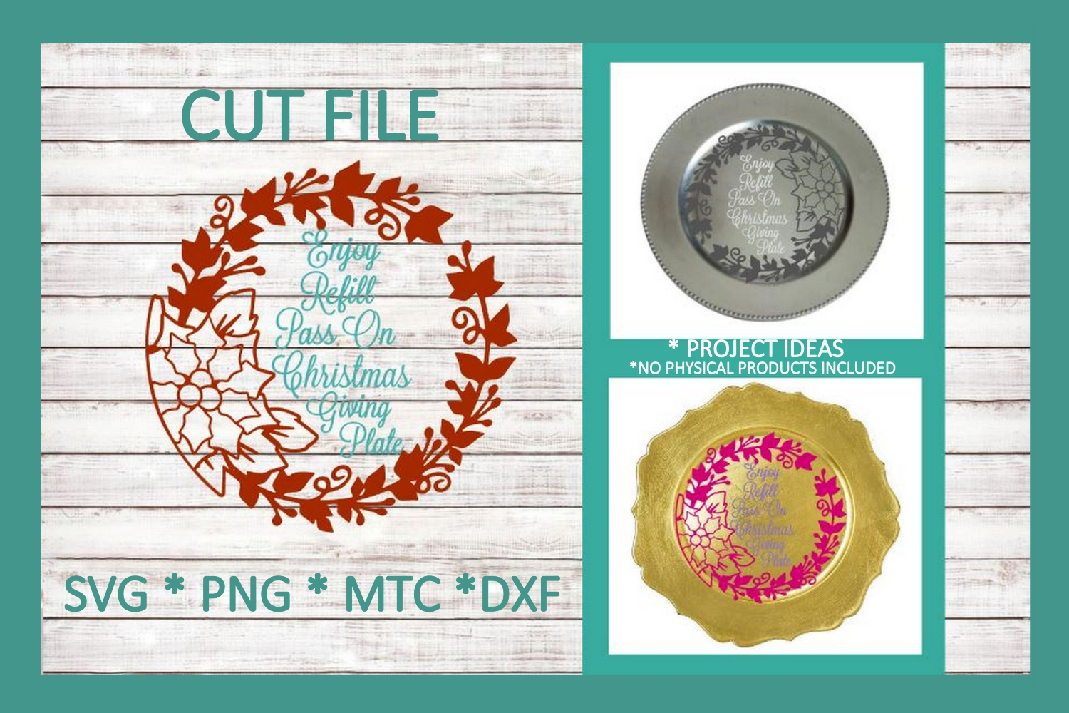 SVG Cut File Christmas Giving Plate Design #06 example image 1