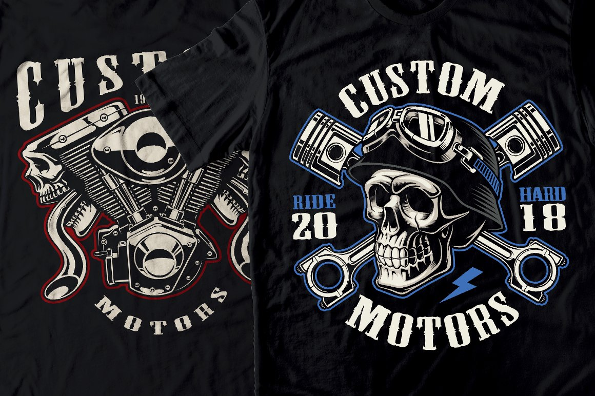 Set of Bikers Shirt Designs. example image 11