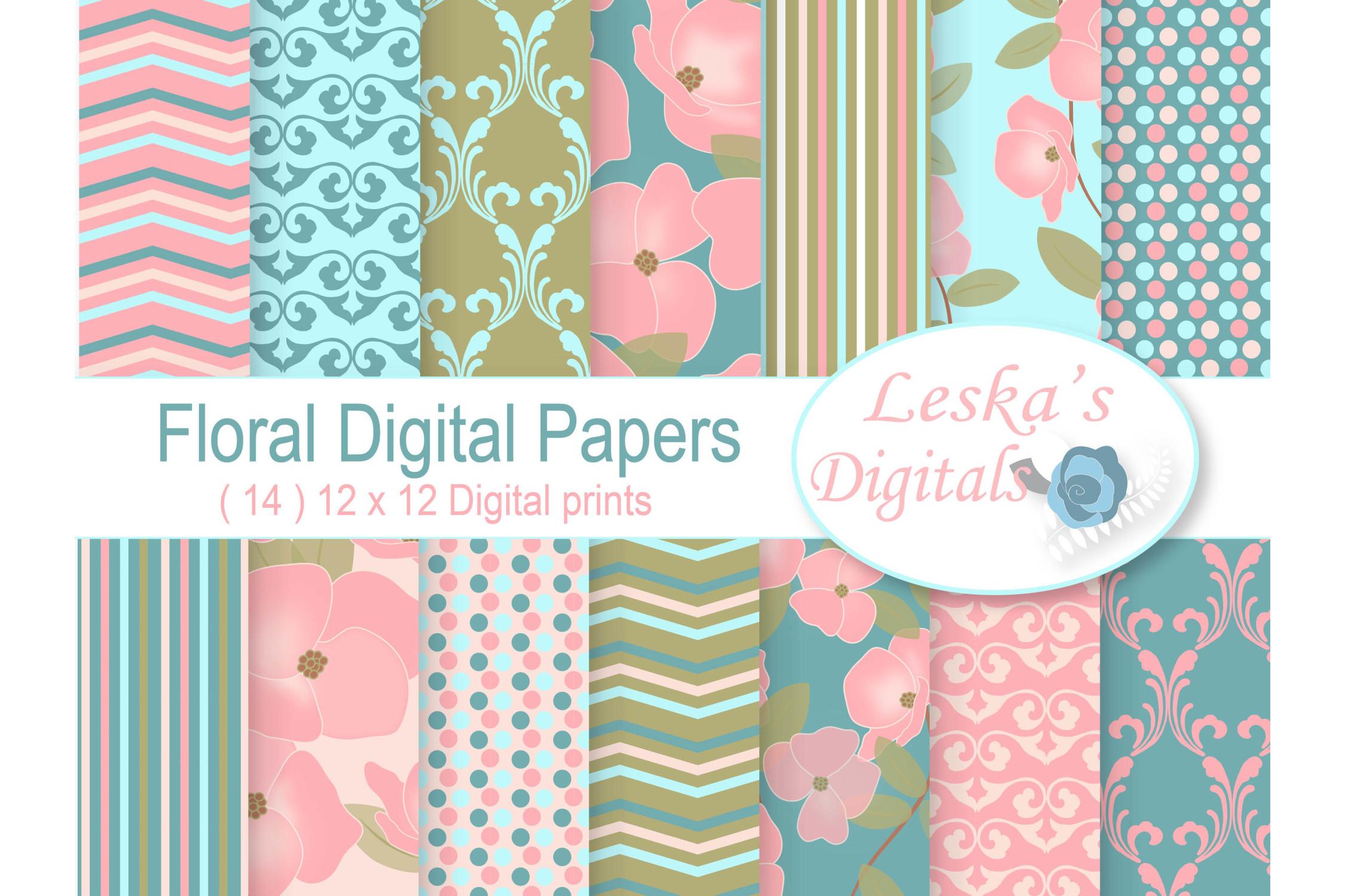 Floral Digital Paper example image 1