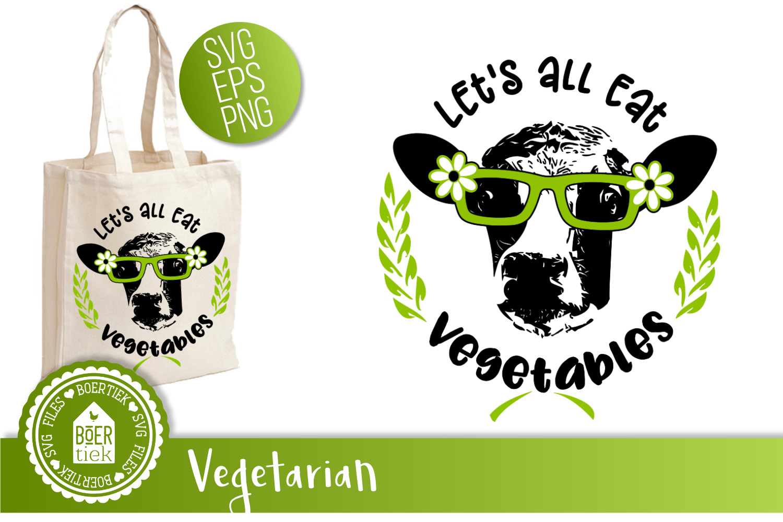 Cow eat vegetables, vegetarian, vegan, SVG cutting file example image 1