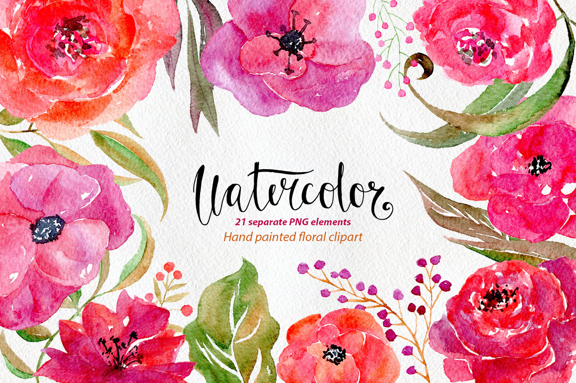 Watercolor flowers, 21 png clipart example image 1