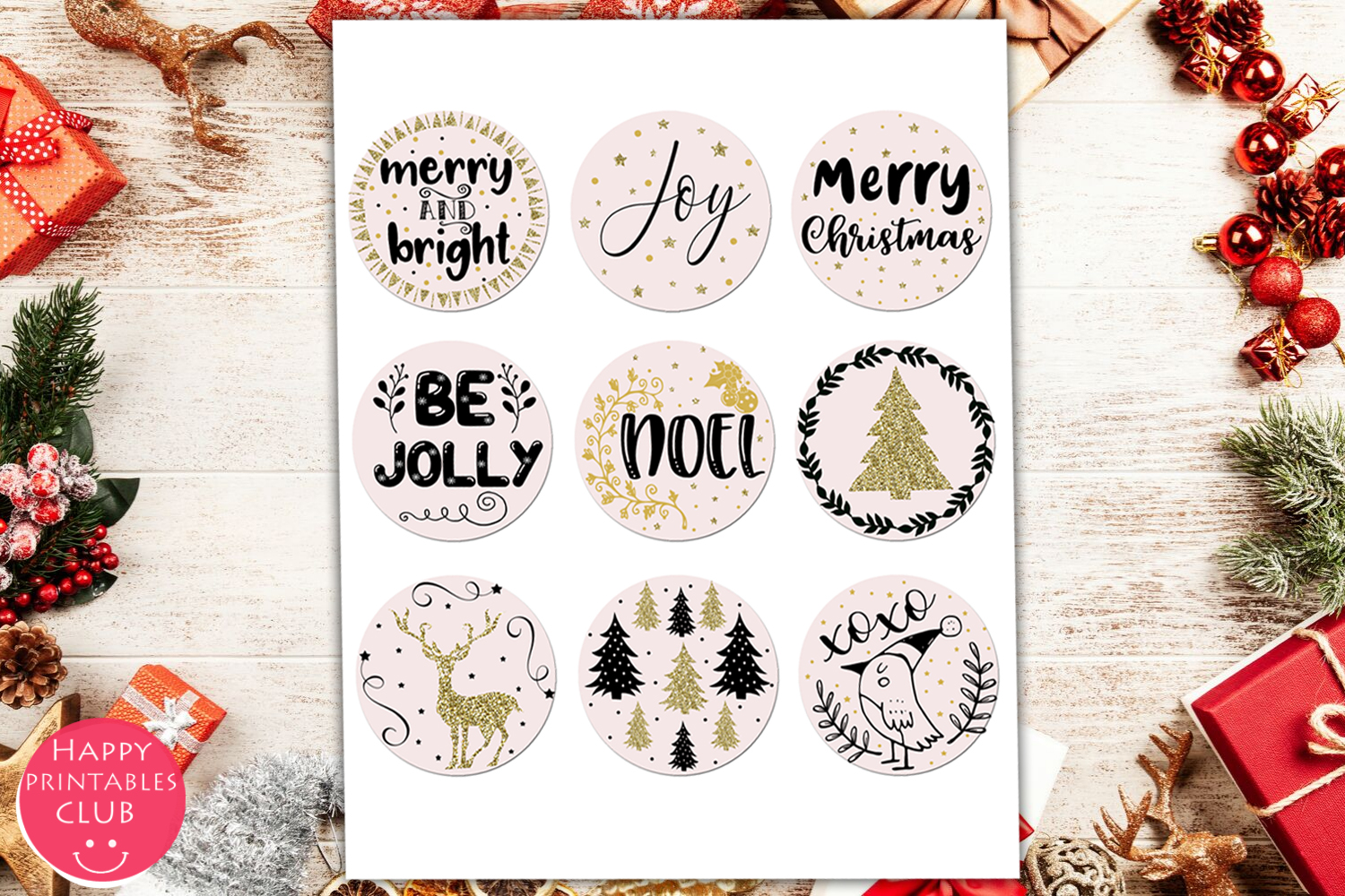 Cute Christmas Round Stickers- Holiday Round Stickers example image 2
