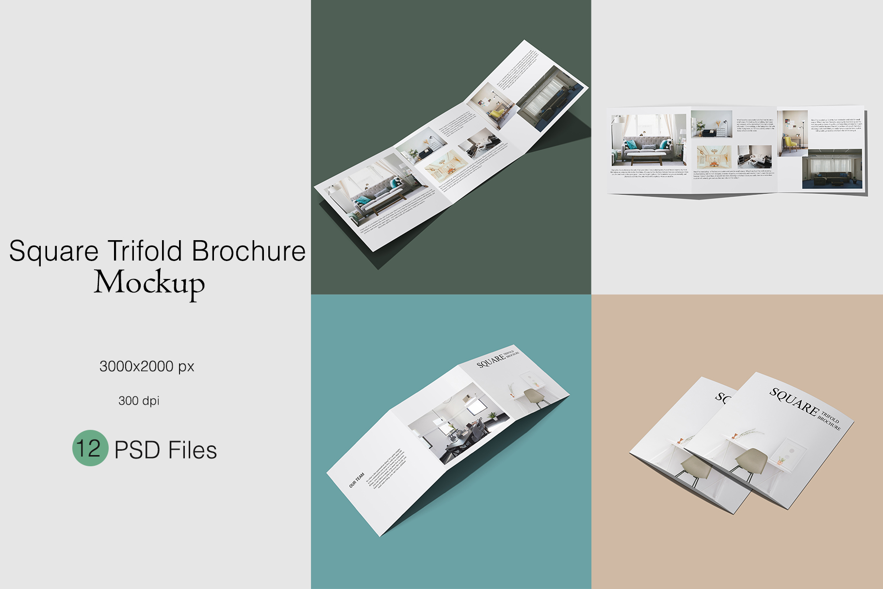 Square Trifold Brochure Mockup example image 1