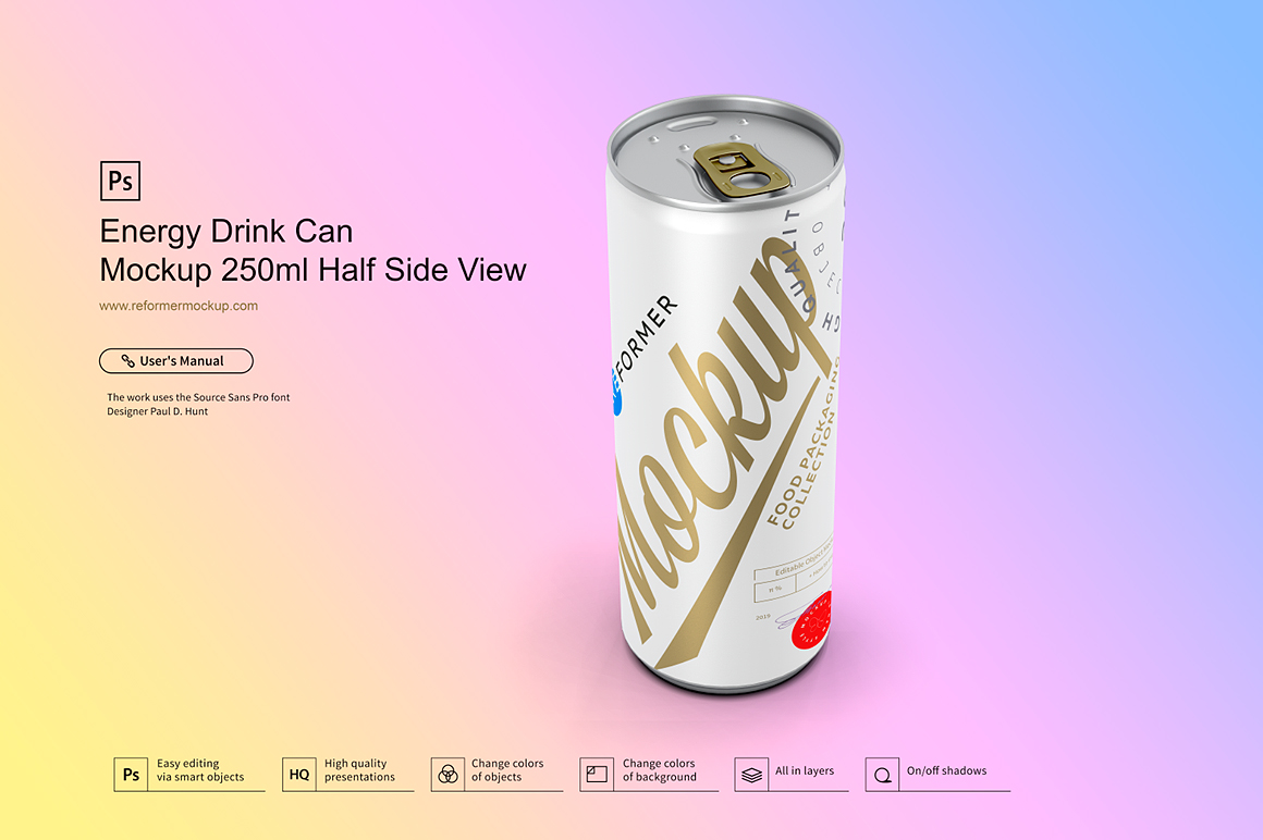 Energy Drink Can Mockup 250ml Half Side View example image 3