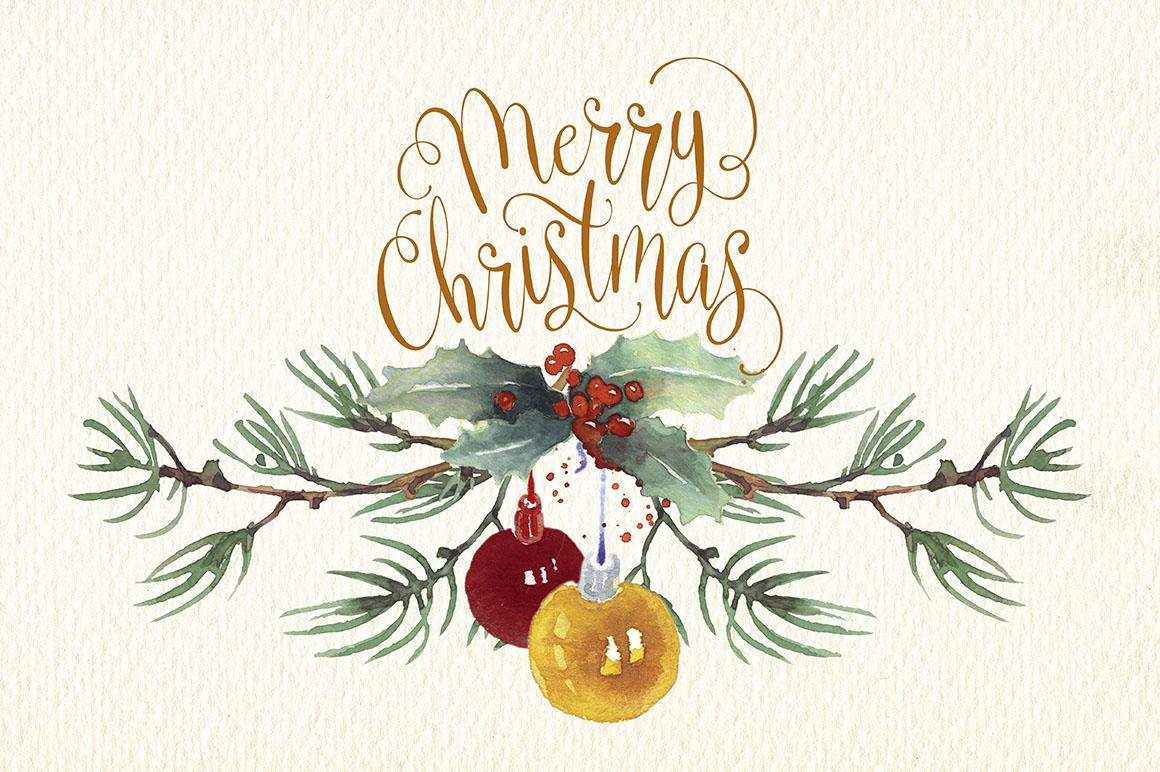 Christmas Graphics Clip Art.Christmas Cards Watercolor Clip Art